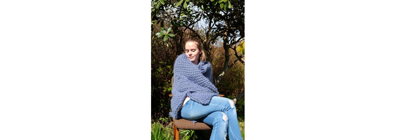 Slumreteppe strikket med tykke pinner