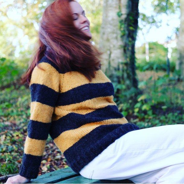 Gro genser - enkel raglangenser med striper ovenfra og ned